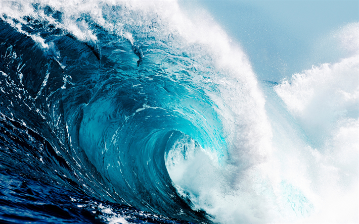 Download wallpapers tsunami, big wave, ocean, waves, water ...