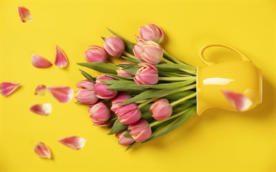 Pink tulips, yellow background, pink flowers, tulips, floral background, beautiful flowers, yellow vase