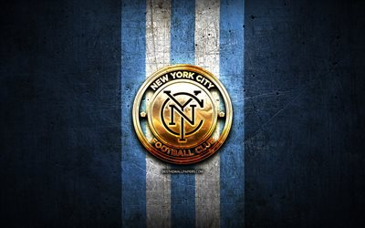 new york city fc, golden logo, mls, blau metall-hintergrund, american soccer club, vereinigtes soccer league, new york city fc logo, soccer, usa