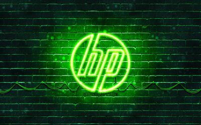 HP green logo, 4k, green brickwall, Hewlett-Packard, HP logo, HP neon logo, HP, Hewlett-Packard logo