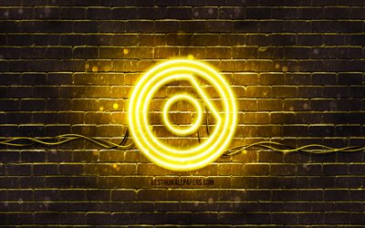 Nicky Romero yellow logo, 4k, superstars, dutch DJs, yellow brickwall, Nicky Romero logo, Nick Rotteveel, Nicky Romero, music stars, Nicky Romero neon logo