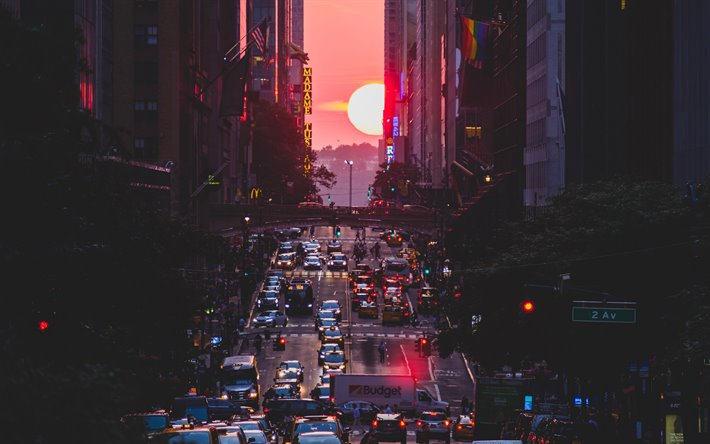 New York, skyscrapers, cityscape, sunset, Manhattan, traffic, streets, metropolis, NYC, USA