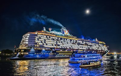 Mein Schiff 6, cruise ships, night, Elbe River, Hamburg, Germany, Europe