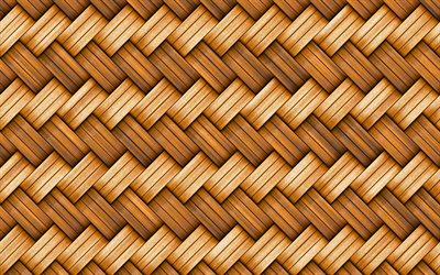 4k, wooden weaving texture, close-up, wickerwork, wooden backgrounds, macro, wooden textures, brown background, brown wood