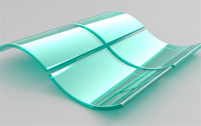 Windows logo, 3D glass logo, emblem, glass art, White background, Windows