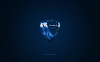vfl bochum, german football club, bundesliga 2, blue logo, blue carbon fiber background, football, bochum, germany, vfl bochum logo