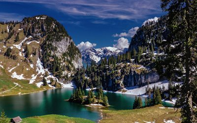 Hinterstockensee, mountain lake, mountain landscape, Alps, Erlenbach im Simmental, Bern, Switzerland