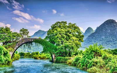 Guilin, 4k, beautiful nature, river, Yangshuo County, HDR, chinese nature, China, Asia