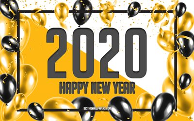 Happy New Year 2020, Yellow Balloons Background, 2020 concepts, Yellow 2020 Background, Yellow Black Balloons, Creative 2020 Background, 2020 New Year, Yellow Christmas background