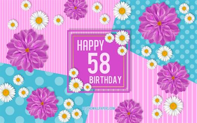 58th Happy Birthday, Spring Birthday Background, Happy 58th Birthday, Happy 58 Years Birthday, Birthday flowers background, 58 Years Birthday, 58 Years Birthday party