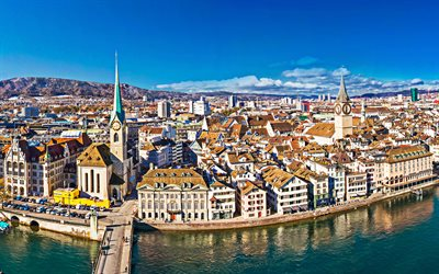 Zurich, cityscape, winter, old buildings, church, chapel, Switzerland