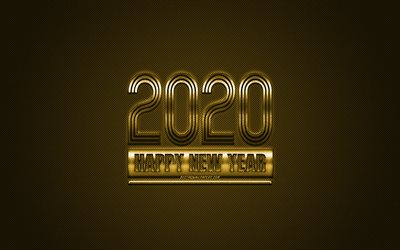 Happy New Year 2020, Golden 2020 background, Golden metal 2020 background, 2020 concepts, Christmas, 2020, Golden carbon texture