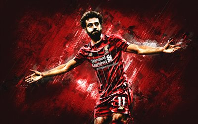 Mohamed Salah, Liverpool FC, Egyptian footballer, Premier League, England, football, portrait, creative art, red stone background, Salah Liverpool