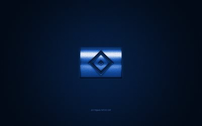 Hamburger SV, German football club, Bundesliga 2, blue logo, blue carbon fiber background, football, Hamburg, Germany, Hamburger SV logo