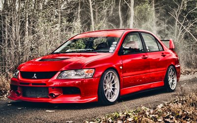 Mitsubishi Lancer Evolution IX, tuning, HDR, supercars, autumn, red lancer, Mitsubishi Lancer Evo 9, japanese cars, Mitsubishi