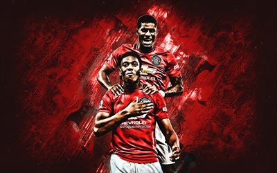Anthony Martial, Marcus Rashford, Manchester United FC, portrait, soccer players, Premier League, England, football