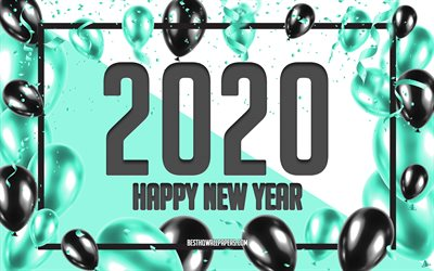 Happy New Year 2020, Turquoise Balloons Background, 2020 concepts, Turquoise 2020 Background, Turquoise Black Balloons, Creative 2020 Background, 2020 New Year, Turquoise Christmas background