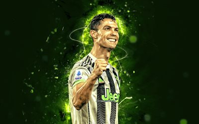 Cristiano Ronaldo, 2019, green neon lights, Juventus FC, CR7, new uniform, Italy, CR7 Juve, portuguese footballers, Bianconeri, soccer, football stars, Serie A