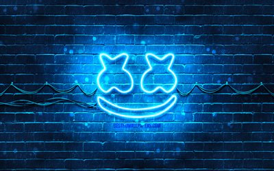 Marshmello blue logo, 4k, superstars, american DJs, blue brickwall, Marshmello logo, Marshmello neon logo, DJ Marshmello, Christopher Comstock, music stars