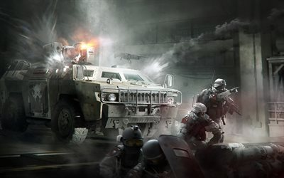 Tom Clancys, The Division, 2016, war, armored personnel carrier, soldiers