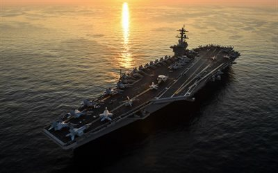 USS Theodore Roosevelt, CVN-71, American aircraft carrier, warship, top view, deck of an aircraft carrier, USA, sunset, ocean