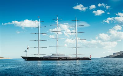 modern ships, sailboats, Luxury Sail Yacht, Maltese Falcon, Pleon Limited, Perini Navi