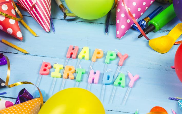 Decorazioni Natalizie Gonfiabili.Scarica Sfondi Buon Compleanno Candele Multi Colored Palloni