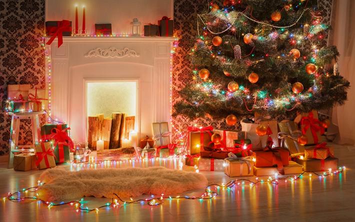 Christmas Tree Fireplace Evening New Year Burning Garlands