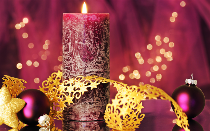Download Wallpapers Purple Christmas Background New Year Purple Large Candle 2019 Burning Candle Merry Christmas Purple Christmas Balls For Desktop Free Pictures For Desktop Free