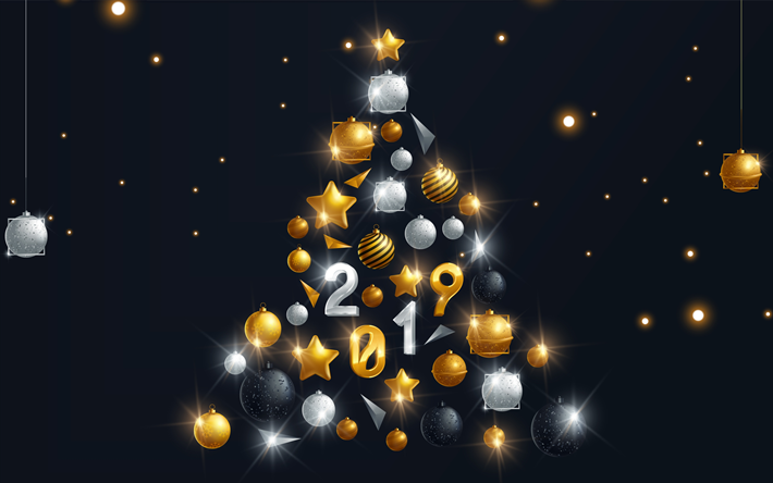 Download wallpapers Christmas tree 2019, 4k, New Year tree