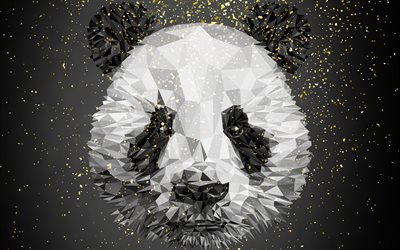 Panda, creative art, Low Poly Art, 4k, portrait, bear