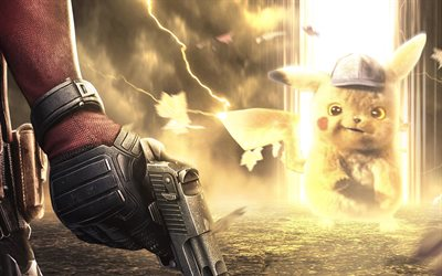 4k, Pikachu vs Deadpool, battle, Pokemon, Deadpool with gun, chubby rodent, artwork, Deadpool