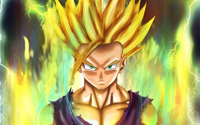 Gohan, lightings, Dragon Ball, DBS, Dragon Ball Super, Mystic Gohan