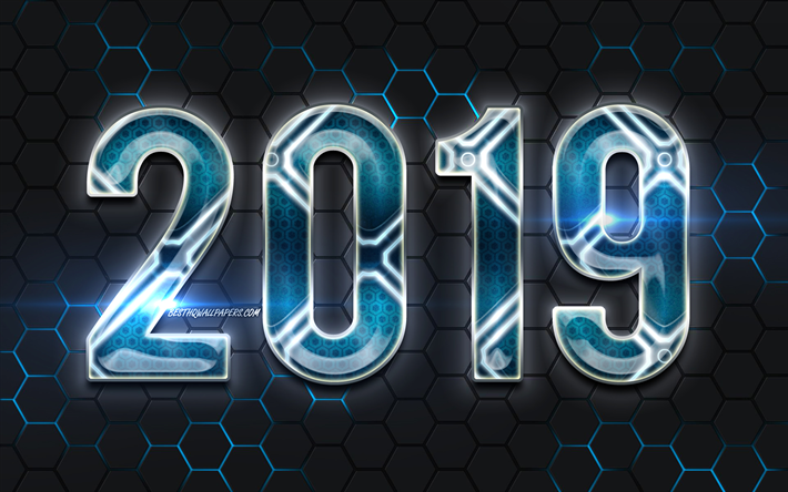 Download wallpapers 2019 blue digits, metal grid background