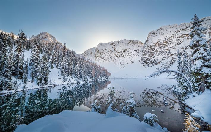 Scarica Sfondi Inverno Lago Montagne Neve Paesaggio Invernale
