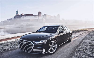 Audi A8, winter, 2018 cars, luxury cars, black A8, german cars, HDR, Audi