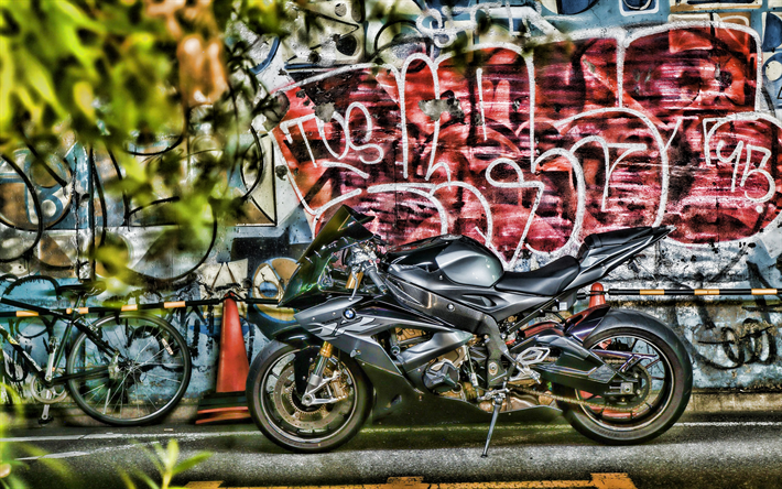 Download Wallpapers Bmw S1000rr 4k Hdr 2018 Bikes Graffiti Superbikes Black S1000rr Street Art German Motorcycles Bmw For Desktop Free Pictures For Desktop Free