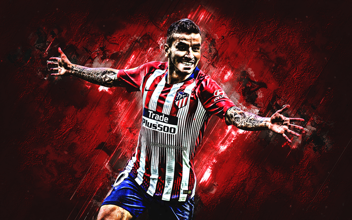 Download wallpapers Angel Correa, Atletico Madrid, red stone