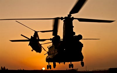 Boeing CH-47 Chinook, American military transport helicopter, evening, sunset, USAF, military helicopters, Boeing