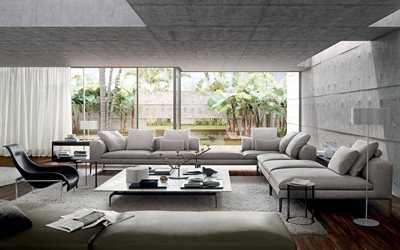 stylish apartments, living room, loft style, gray sofas, modern design living room, modern interior