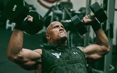 Dwayne Johnson, The Rock, American actor, Hollywood star, bodybuilding, gim, dumbels, bodybuilder