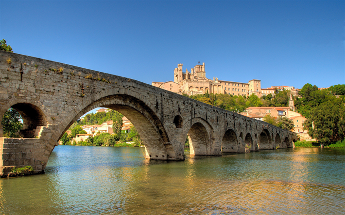 Beziers, The old bridge, Orb river, French city, spring, sunset, France, andmark