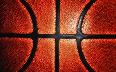 de basket-ball de la texture, de la balle, 4k, macro, basket-ball, boule orange, close-up
