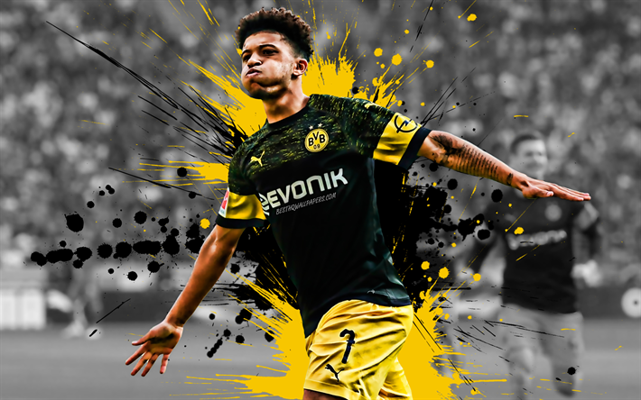 Download Wallpapers Jadon Sancho 4k English Football Player Borussia Dortmund Midfielder Yellow Black Paint Splashes Bvb Creative Art Bundesliga Germany Football Grunge For Desktop Free Pictures For Desktop Free