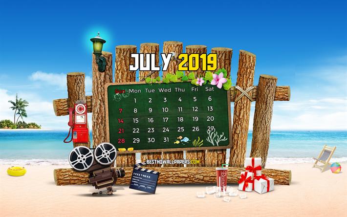 Scarica Sfondi Luglio 2019 Calendario 4k Estate Spiaggia 2019