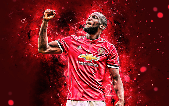 Download Wallpapers 4k, Romelu Lukaku, Joy, Manchester