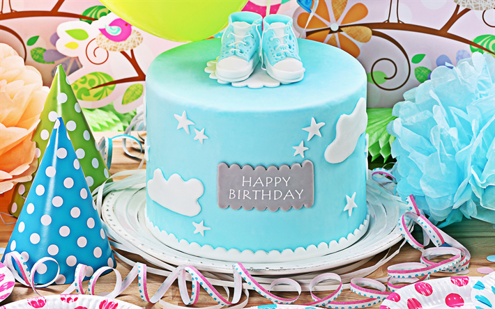 Awe Inspiring Download Wallpapers Happy Birthday Blue Cake Boy Birthday Funny Birthday Cards Online Elaedamsfinfo