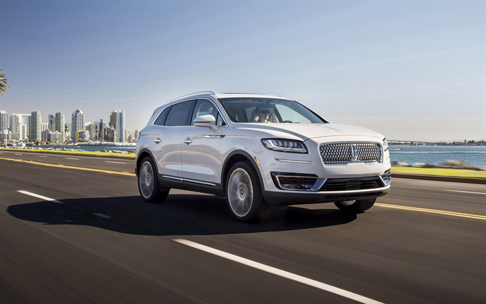 Lincoln Nautilus, 2019, white luxury SUV, exterior, front view, new white Nautilus, american cars, Lincoln