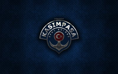 Kasimpasa SK, Turkish football club, blue metal texture, metal logo, emblem, Istanbul, Turkey, Super Lig, creative art, football