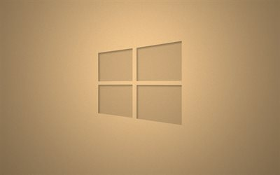 Windows 10, brown background, logo, Microsoft